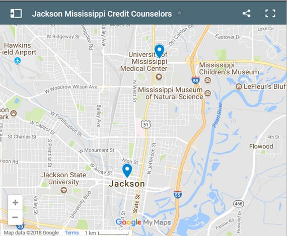 Jackson Credit Counsellors Map - Initial Static Image