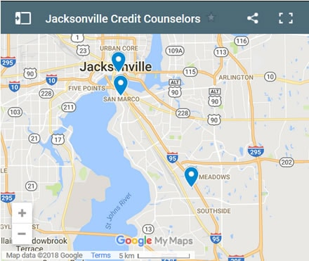 Jacksonville Credit Counsellors Map - Initial Static Image