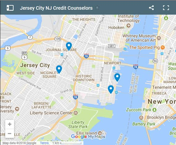 Jersey City Credit Counsellors Map - Initial Static Image