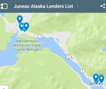 Juneau Bad Credit Lenders Map - Initial Static Image