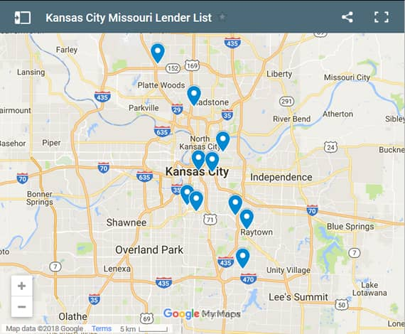 Kansas City Bad Credit Lenders Map - Initial Static Image