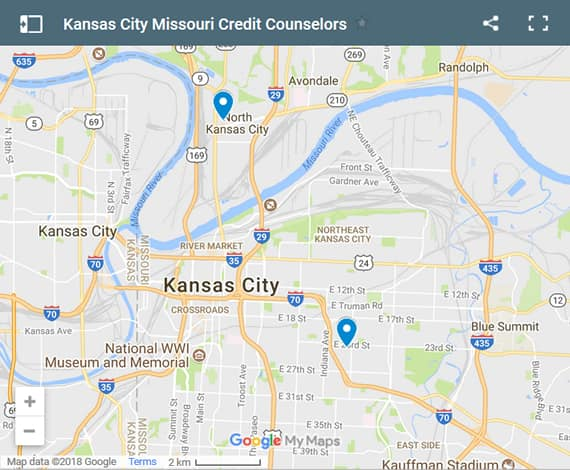 Kansas City Credit Counsellors Map - Initial Static Image