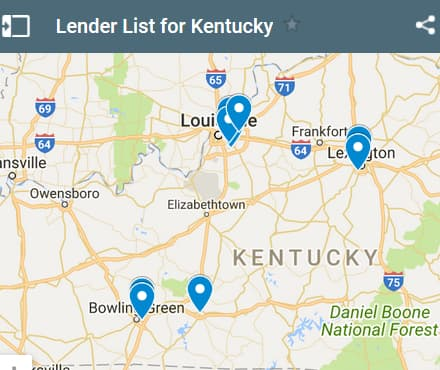 Kentucky Bad Credit Lenders Map - Initial Static Image