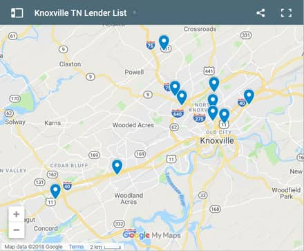 Knoxville Bad Credit Lenders Map - Initial Static Image