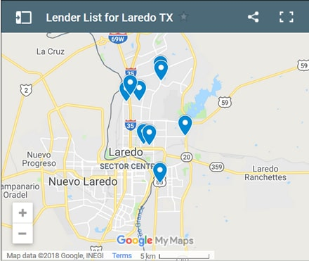 Laredo Bad Credit Lenders Map - Initial Static Image
