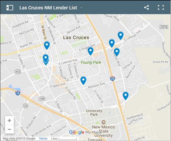 Las Cruces Bad Credit Lenders Map - Initial Static Image