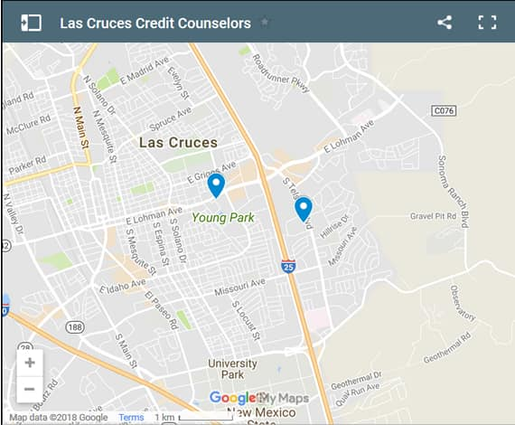 Las Cruces Credit Counsellors Map - Initial Static Image
