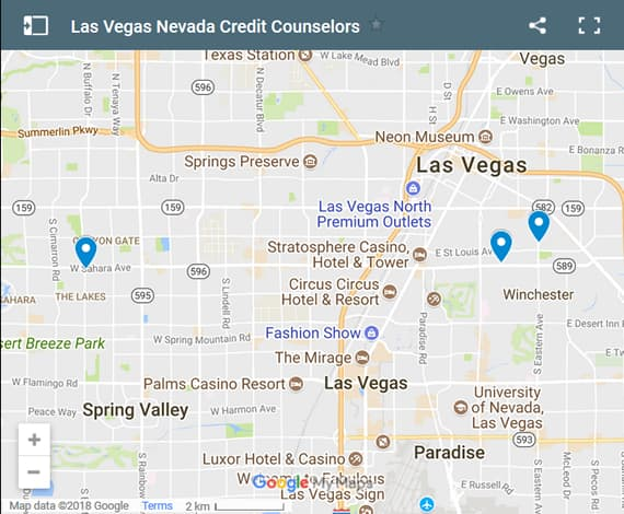Las Vegas Credit Counsellors Map - Initial Static Image