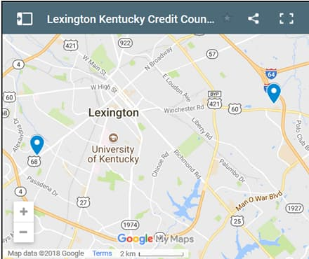 Lexington Credit Counsellors Map - Initial Static Image
