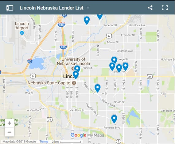 Lincoln Bad Credit Lenders Map - Initial Static Image