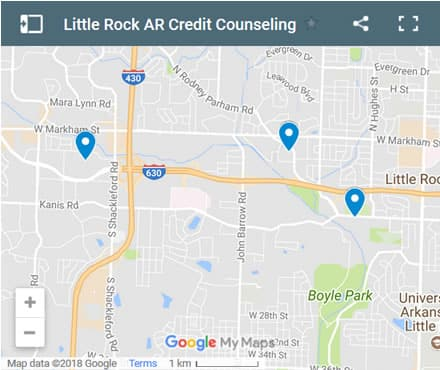 Little Rock Credit Counsellors Map - Initial Static Image