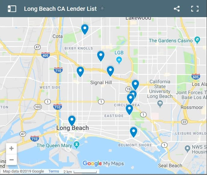 Long Beach Bad Credit Lenders Map - Initial Static Image