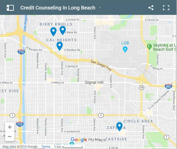 Long Beach Credit Counsellors Map - Initial Static Image