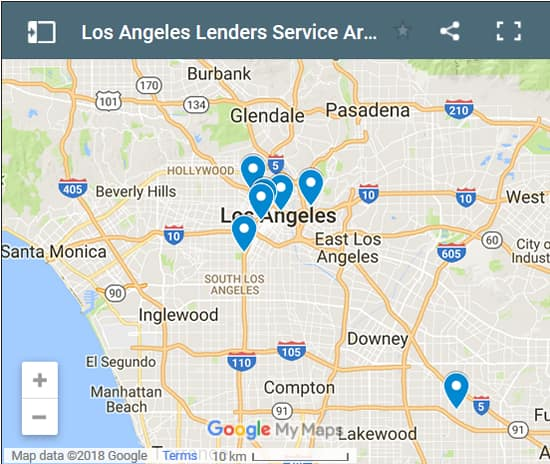 Los Angeles Bad Credit Lenders Map - Initial Static Image