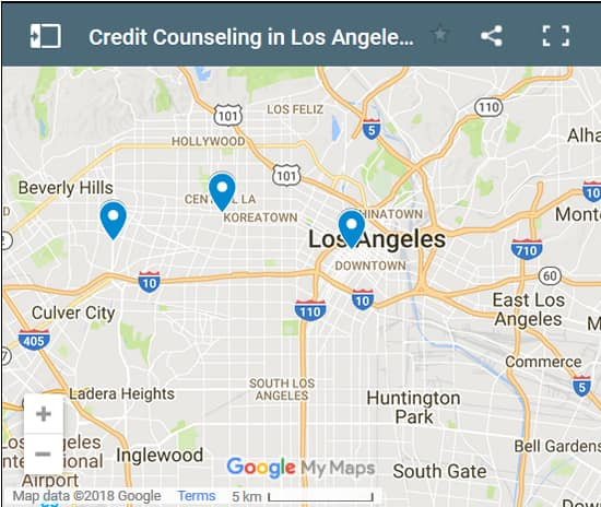 Los Angeles Credit Counsellors Map - Initial Static Image