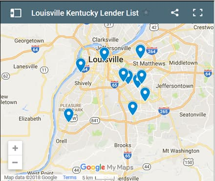 Louisville Bad Credit Lenders Map - Initial Static Image