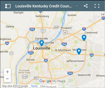 Louisville Credit Counsellors Map - Initial Static Image