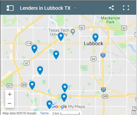 Lubbock Bad Credit Lenders Map - Initial Static Image