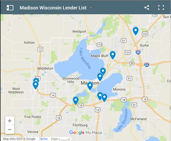Madison Bad Credit Lenders Map - Initial Static Image