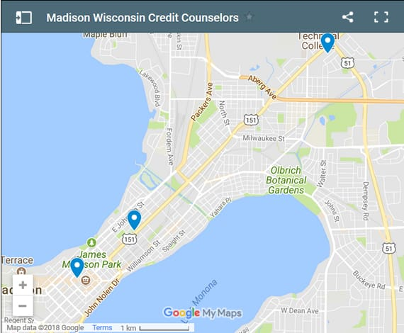 Madison Credit Counsellors Map - Initial Static Image