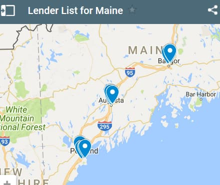 Maine Bad Credit Lenders Map - Initial Static Image