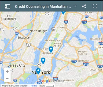 Manhattan Credit Counsellors Map - Initial Static Image