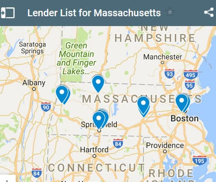 Massachusetts Bad Credit Lenders Map - Initial Static Image