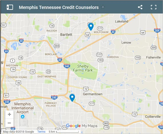 Memphis Credit Counsellors Map - Initial Static Image