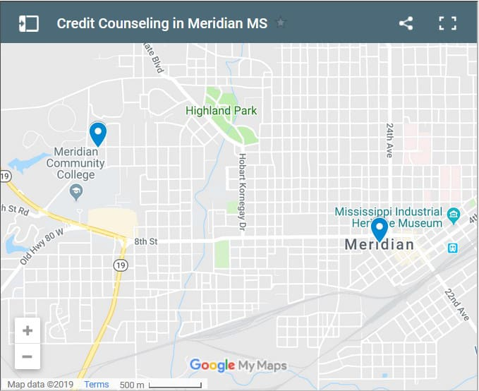 Meridian Credit Counsellors Map - Initial Static Image