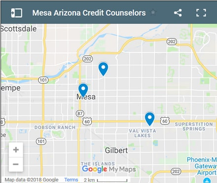 Mesa Credit Counsellors Map - Initial Static Image