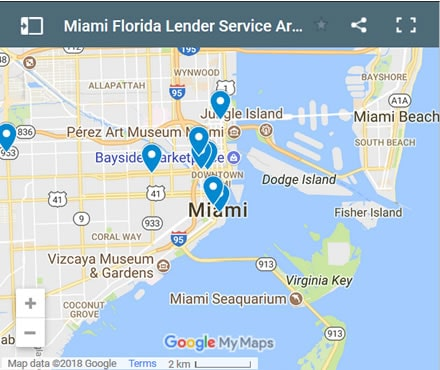 Miami Bad Credit Lenders Map - Initial Static Image