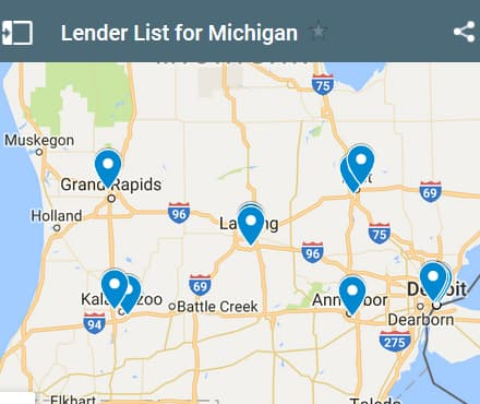 Michigan Bad Credit Lenders Map - Initial Static Image