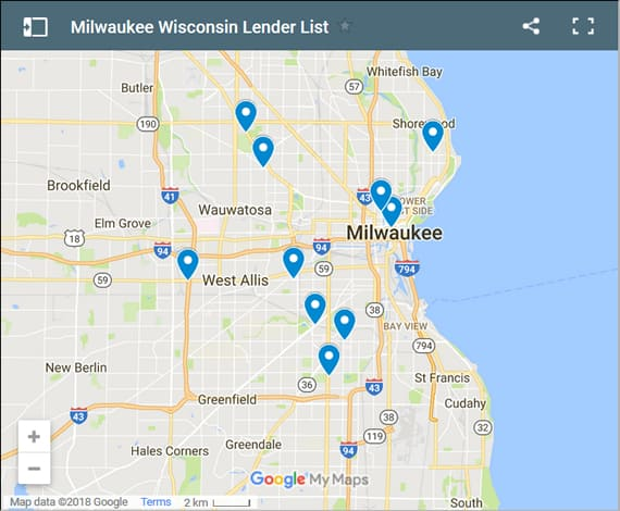 Milwaukee Bad Credit Lenders Map - Initial Static Image