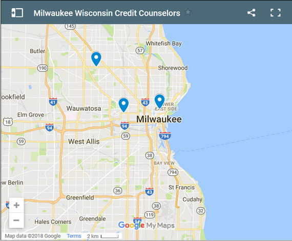 Milwaukee Credit Counsellors Map - Initial Static Image