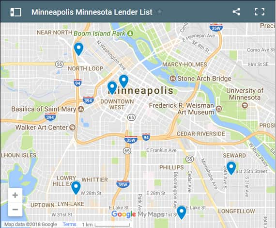 Minneapolis Bad Credit Lenders Map - Initial Static Image