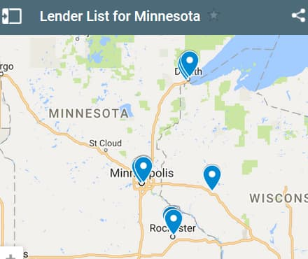 Minnesota Bad Credit Lenders Map - Initial Static Image