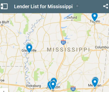 Mississippi Bad Credit Lenders Map - Initial Static Image