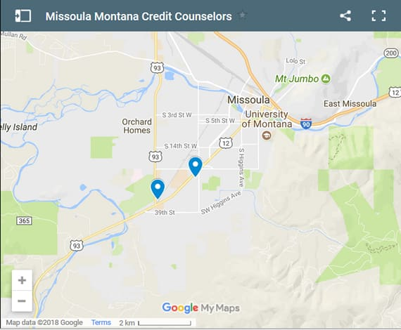 Missoula Credit Counsellors Map - Initial Static Image