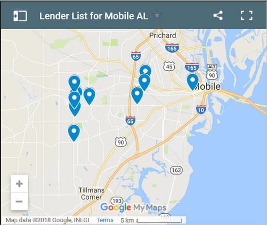 Mobile Bad Credit Lenders Map - Initial Static Image