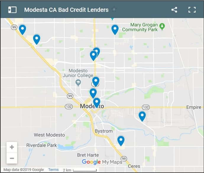 Modesto Bad Credit Lenders Map - Initial Static Image