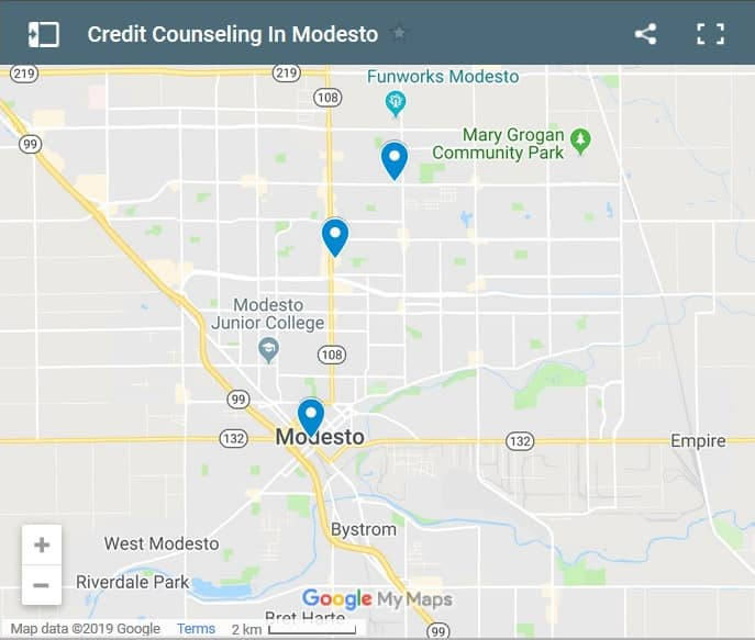 Modesto Credit Counsellors Map - Initial Static Image