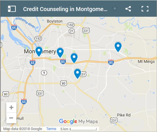 Montgomery Credit Counsellors Map - Initial Static Image