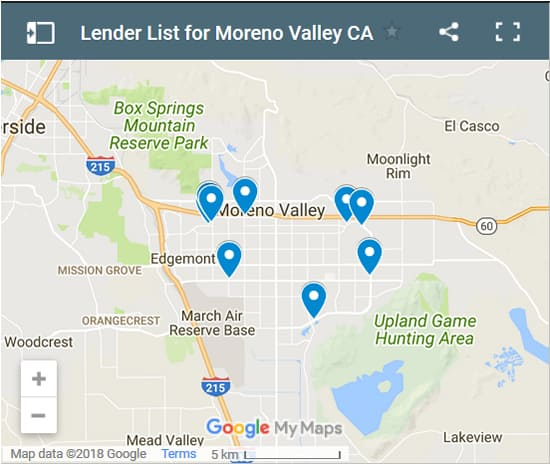 Moreno Valley Bad Credit Lenders Map - Initial Static Image