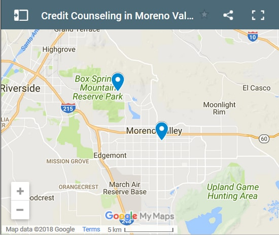 Moreno Valley Credit Counsellors Map - Initial Static Image