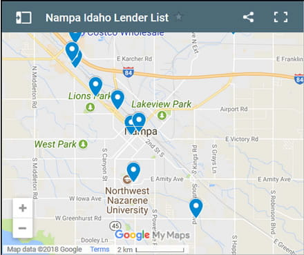 Nampa Bad Credit Lenders Map - Initial Static Image