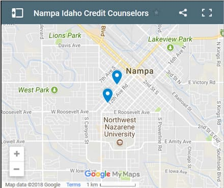 Nampa Credit Counsellors Map - Initial Static Image