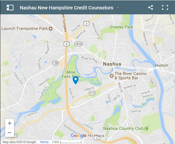 Nashua Credit Counsellors Map - Initial Static Image