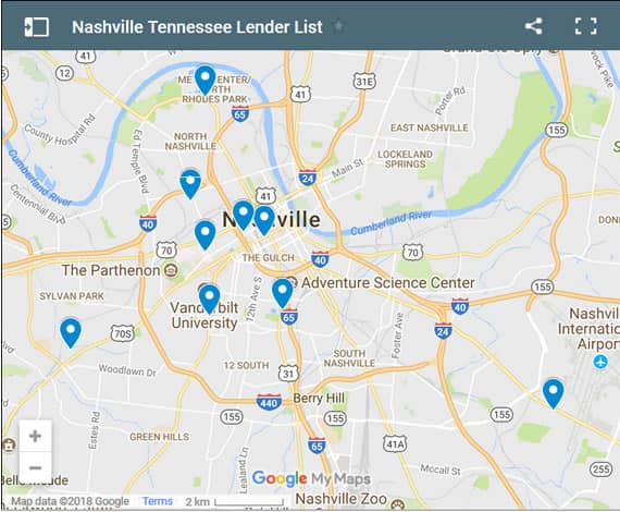 Nashville Bad Credit Lenders Map - Initial Static Image