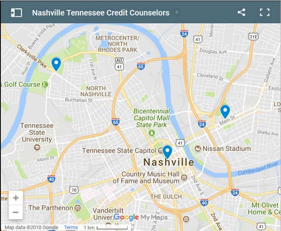 Nashville Credit Counsellors Map - Initial Static Image