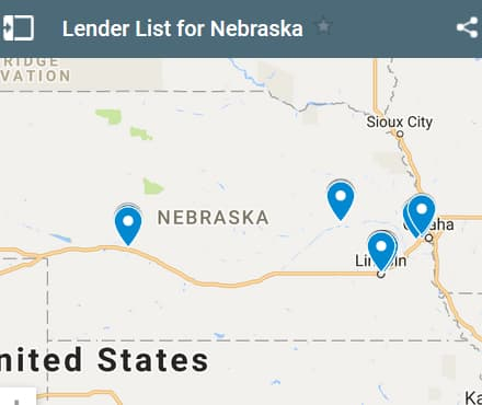 Nebraska Bad Credit Lenders Map - Initial Static Image